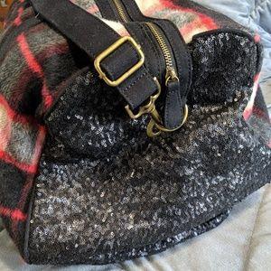 Deux Lux Plaid and Sequin duffel bag